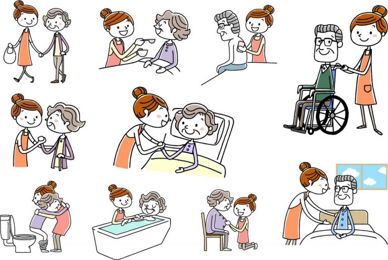小規模多機能型居宅介護の仕事内容イラスト