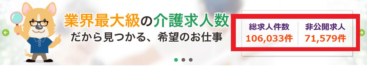 スマイルSUPPORT介護の公式サイトによる求人数