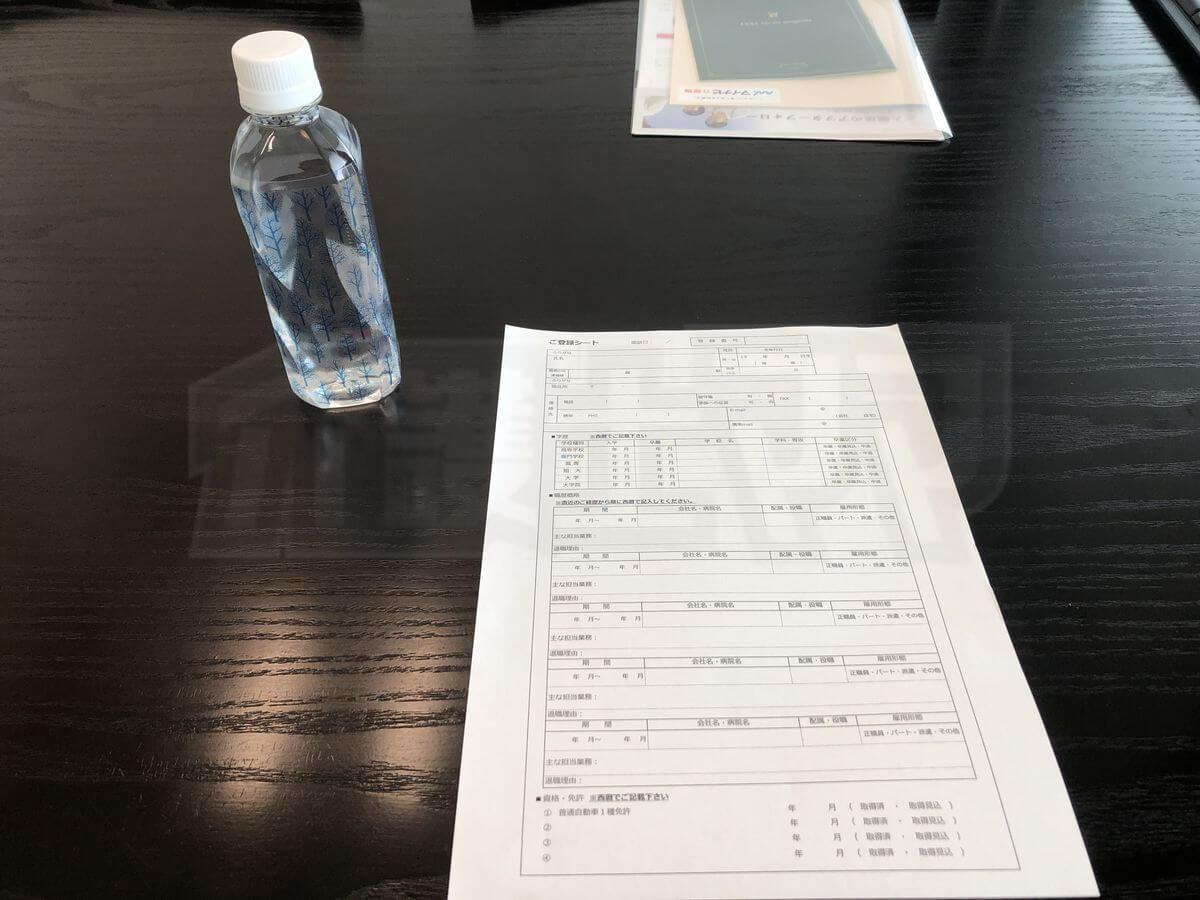 マイナビ介護職 面談時の記入書類